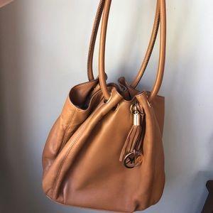 Michael Kors Camel Leather Bucket Bag